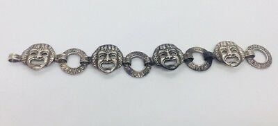 Antique Victorian Italian 800 Silver Rare Mask Face Design Bracelet