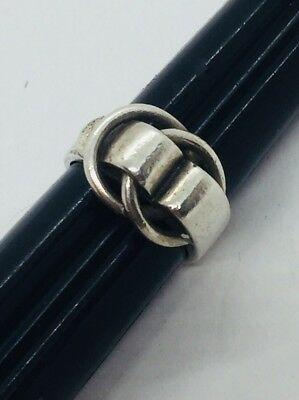 Hermes Vintage Authentic French Sterling Silver Interlocking Loop Ring Size 6