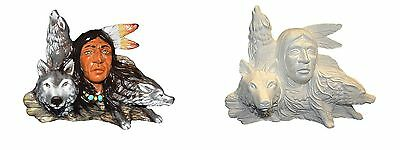 Ceramic Native American - Bisque or Handpainted Wolf Pack 20cmT x 25cmW