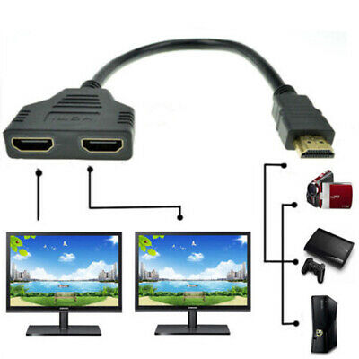1080P HDMI Port Male to 2 Female 1 In 2 Out Splitter Cable Adapter Converter 1X