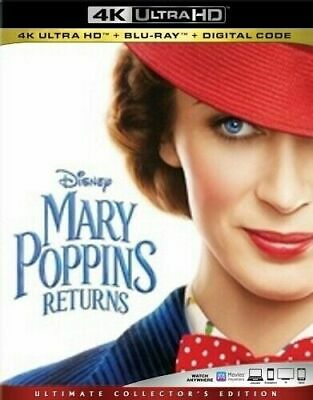 Mary Poppins Returns 4K Uhd Blu-Ray Digital Slipcover Brand New Fast Shipping