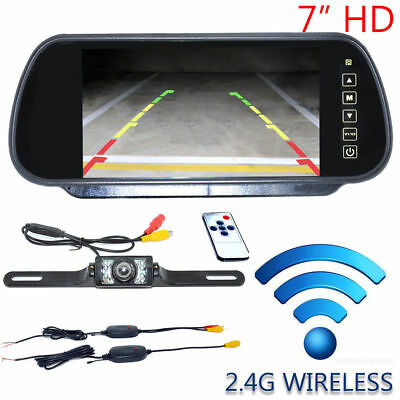"7"" LCD Car Rear View Backup Mirror Monitor+Wireless Reverse IR Camera System Kit"