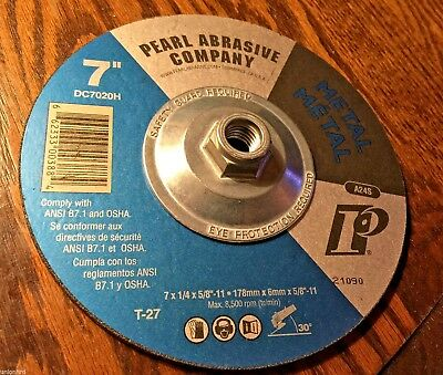 Pack... Pearl Silverline DC7020T 7 x 1//4 x 7//8 Depressed Center Grinding Wheels