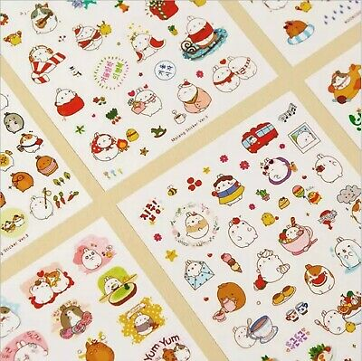 6 Sheets Cute Bunny Rabbit Stickers Kawaii Korean Diary Scrapbook Craft Kids Art