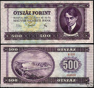 Hungary 500 Forint 1969 P#172a paper banknote Magyar Ungarn UNC