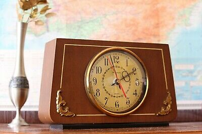 Vintage Working Wooden Mantel Clock Large Battery Operated Clock Fireplace Clock