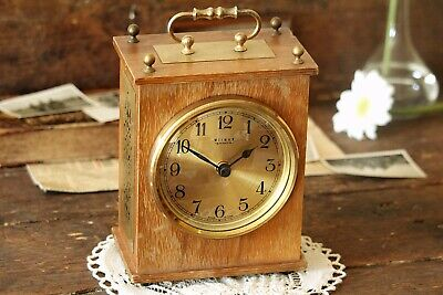 Vintage Working Wooden Mantel Clock Battery Operated Clock Fireplace Clock