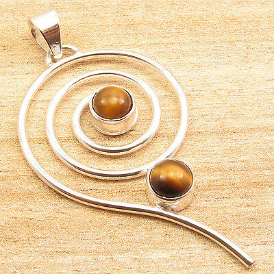 """Gifts For UNISEX Pendant 2"""", 925 Silver Plated Brown TIGER'S EYE 2 Stone"""