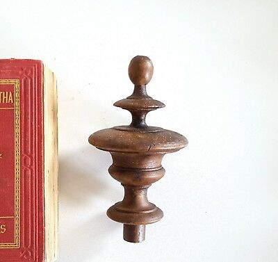 ANTIQUE WOOD POST FINIAL END CAP TOPPER French architectural salvaged 4.25""