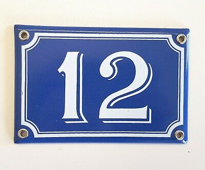 12 Vintage enamel house number sign Blue enmel