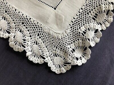 Edwardian Vintage Huge White Irish Linen Butlers Tray Cloth Hand Crochet Edging
