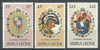 Sierra Leone 1981 472-74 ** Mariage prince Charles lady Diana pilote hélicoptère