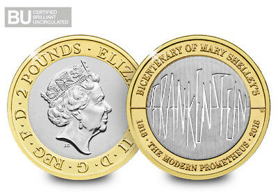 mary shelley frankenstein 2018 £2. two pound coin bu 2018 brilliant uncirculated