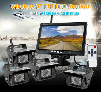 """7"""" LCD Monitor+4X Wireless Rear View Backup Camera Night Vision For RV Truck Bus"""