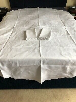 White Irish Linen Double Damask Willow Pattern Large Oval Tablecloth & 8 Napkins