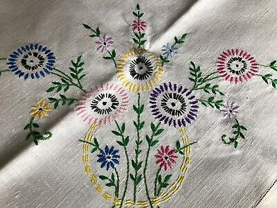 Pretty Vintage Floral Hand Embroidered Med. Square Cream Irish Linen Tablecloth