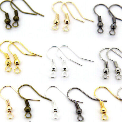 100PCS DIY Jewelry Making Findings Earring Hook Coil Ear Wire Gold Sliver Hot