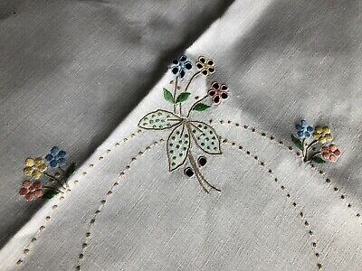 Vintage Coloured Madeira Work Hand Embroidered Cream Irish Linen Tablecloth