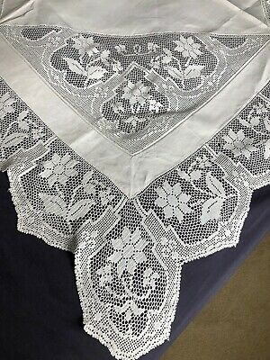 Edwardian Vintage White Irish Linen Table Cloth Hand Crocheted Edging & Inserts
