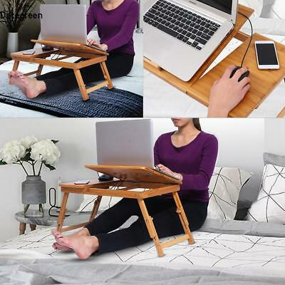 Adjustable Portable Folding Bamboo Laptop Notebook Desk Table Stand Bed Tray