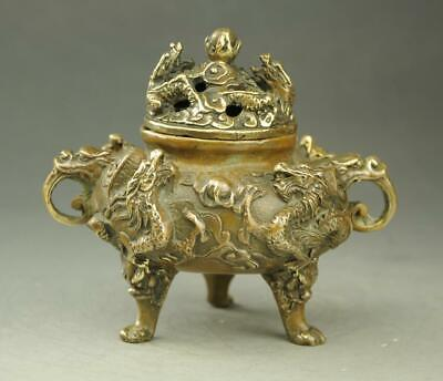 chinese old copper handwork carving  three foot dragon incense burner d01