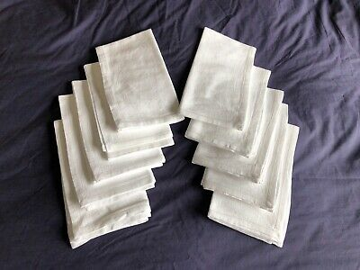 Very Nice Quality Vintage White Cotton Double Damask Set 10 Large Dinner Napkins