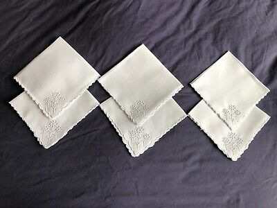 Vintage White Linen Madeira Work Hand Embroidered Set 6 Afternoon Tea Napkins