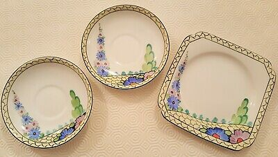 CWS Windsor fine bone china vintage 1930/40's side plate with two saucers