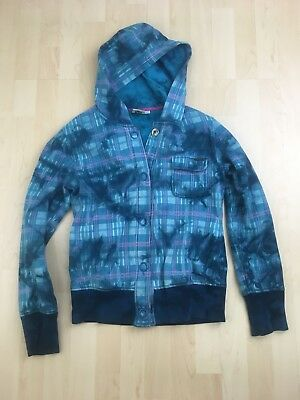 Roxy Kids Girls Youth Teal Blue Jacket Coat Button Front Hooded Size Large