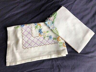 2 Pretty Vintage Cream Cotton Hand Embroidered Tray Cloths / Table Centrepieces