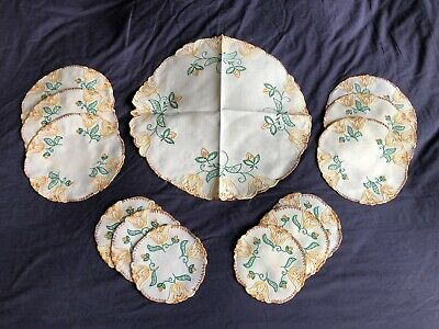 Vintage Cream Irish Linen Luncheon Set Of 13 Hand Embroidered Place / Table Mats
