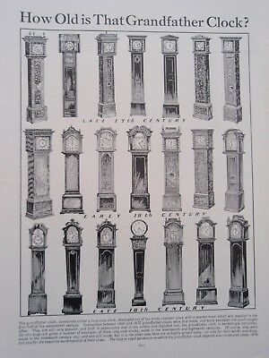 Types of GRANDFATHER CLOCK old vintage retro print 1930's LONG CASE CLOCK