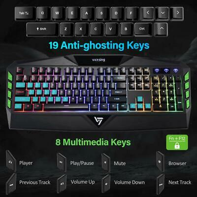 VICTSING WIRED GAMING Keyboard Rainbow RGB Backlight USB Laptop For PC PS3  PS4