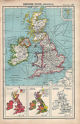 1952 Map ~ British Isles Political ~ Population Agriculture Electricity Grid