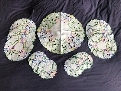 Vintage White Irish Linen Luncheon Set Of 13 Hand Embroidered Place / Table Mats