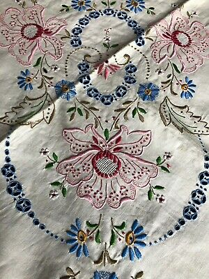 Unused Vintage Coloured Madeira Work Hand Embroidered Linen Tablecloth 6 Napkins