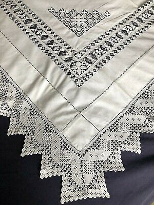 Superb Edwardian Vintage White Cotton Tablecloth Crocheted Edging & Drawn Thread