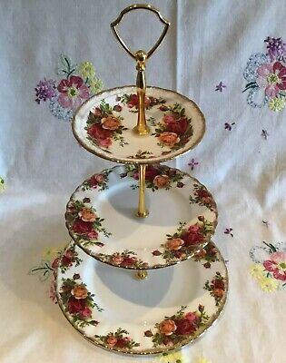 *beautiful Vintage Royal Albert 🌹 Old Country Roses Tea Cake Plate Stand*