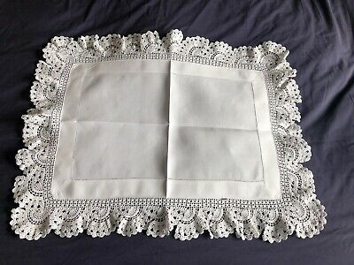 Edwardian Vintage White Irish Linen Butlers Tray Cloth Hand Crocheted Edging