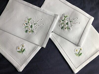 2 Lovely Vintage Cotton Hand Embroidered Tray / Trolley Cloths & 2 Tea Napkins