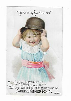 Old Quack Medicine Trade Card Parker's Ginger Tonic Hiscox New York Hair Balsam