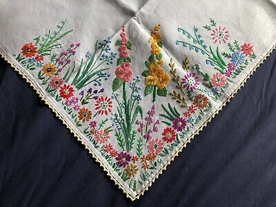 Super Vintage Flora Heavily Hand Embroidered Cream Linen Tablecloth Crochet Edge