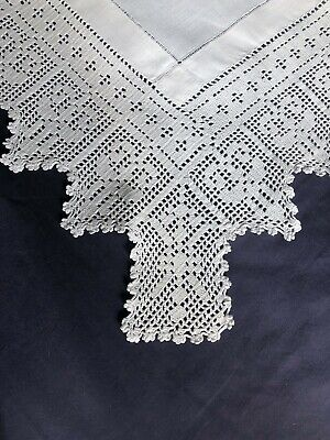 Lovely Edwardian Vintage White Irish Linen Tablecloth With Hand Crocheted Edging