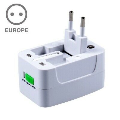 World Wide Universal Travel Adapter Multi Plug Charger with Dual USB Port New