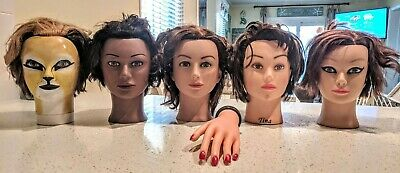 Lot of 5 Cosmetology Mannequin Heads Human Hair Hairdresser & Hand Manicure Pedi