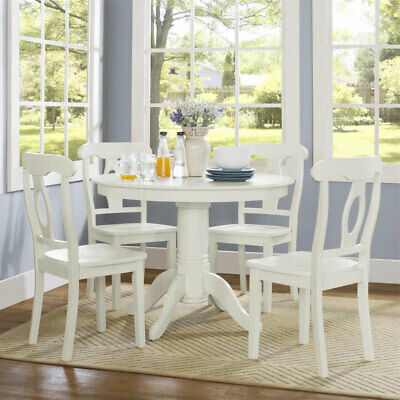 FARMHOUSE DINING TABLE Set White Round Dining Room Kitchen ...