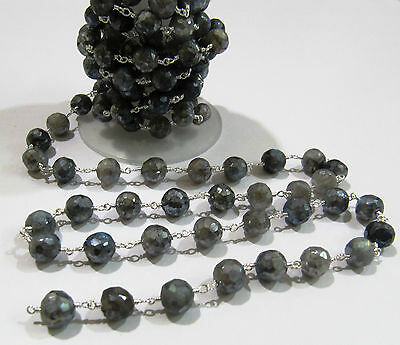 3 Ft- Natural Labradorite Mystic Coated Faceted Round 8mm Beaded Chain-Wire Wrap