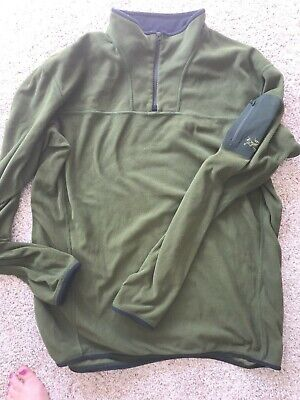 350a42d8d4 Arcteryx Mens Polartec Olive green Fleece QUARTER Zip pullover Jacket sz XL