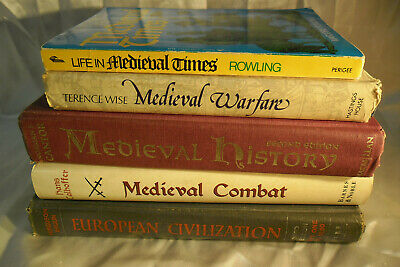Lot of 5 Medieval Combat, Warfare, History, & Life Books; Great reference works