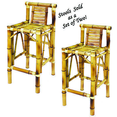 Bamboo Tiki Bar Stools Deluxe Patio Deck or Indoor Set of 2